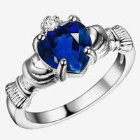 anéis de amizade para mulheres venda por atacado-Atacado- 2016 nova 925 anéis de prata esterlina para as mulheres tradicionais anéis de casamento irlandês Claddagh anel coração amor mulheres amizade melhor presente