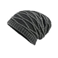 e87979629066f Hat Men s Thicken Warm Knit Beanie Crochet Winter Knit Skull Slouchy Caps  Hat winter Mens cycling windproof pullover cap oct19