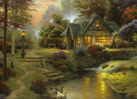 Wholesale Modern Cottage Decor - Thomas Kinkade Landscape Stillwater Cottage,Oil Painting Reproduction High Quality Giclee Print on Canvas Modern Home Art Decor