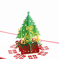 pop up tree card al por mayor-Feliz Navidad Tarjeta de felicitación 3D Laser Cut Pop Up Paper Árbol de Navidad Regalos hechos a mano del festival Little Inviting Cards 4 5xx bb