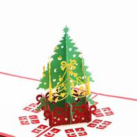 kesik ağaçlar toptan satış-Merry Christmas Tebrik Kartı 3D Lazer Kesim Pop Up Kağıt Noel Ağacı El Yapımı Festivali Hediyeler Küçük Davet Kartları 4 5xx bb