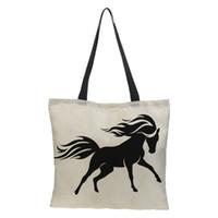 льняные тотализаторы оптовых-CROWDALE Women bag Double-sided printing Horse Printed  Women Large Shopping Bag Tote Sholder for Ladies Linen Handbag