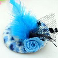 mini sombreros pinza de pelo al por mayor-Horquilla de la pluma de las muchachas de la manera del envío libre, accesorios del pelo de los cabritos, fascinators y mini sombreros superiores con los clips