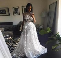 Wholesale saudi sexy girls - Saudi Arabic Sexy Lace Wedding Dresses With Handmade Flowers Beads Black Girls Party Gowns Sheer Neck Formal Guest Bridal Dress Sleeveless