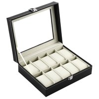 Wholesale watch winder storage box - OUTAD 10 Grid Slots Watch Box Luxury Leather Display Watches Boxes Square Jewelry Storage Case Organizer Holder relojes Winder