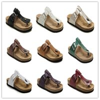 Wholesale Comfortable High Heel Sandals - Hot Sell High Quality Men Women Summer Flat Heel Flip Flops Sandals Classcis Buckle Comfortable Travel Casual Shoes Genuine Leather Slippers