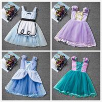 prinzessin kleidung farbabstimmung großhandel-Sommer Cinderella Prinzessin Kleider Taille Bogen Mesh Farbabstimmung Cartoon Film Tutu Kleid Baby Mädchen Kleidung Kinder Kleid