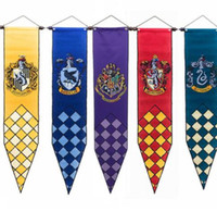 Wholesale cosplay flags online - 5 color harry potter Banners Gryffindor Slytherin Hufflerpuff Ravenclaw College Flag Party Supplies Cosplay Toys flag cm KKA5856
