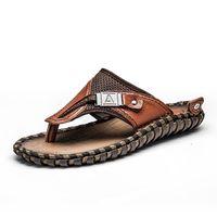 c6a9c53e90e1 Summer Sandals Man Genuine Leather Beach Shoes Leisure Dad Cowhide Non Slip  Slipper Flip Flops Outdoors Favor 90lc gg