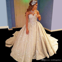 Wholesale g made - Bling Bling 2018 New Wedding Dresses With Lon g Train Sweetheart Backless Pleats Ruched Wedding Bridal Gowns Custom Made