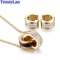 14 ayar altın düğün takımları toptan satış-TrustyLan Altın Renk Gelin Düğün Takı Setleri Paslanmaz Çelik CZ Kolye Küpe Mücevherat Seti Ile Parure Bijoux Femme