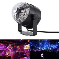 Wholesale crystal changes color light online - 3W Mini RGB Crystal Magic Ball Sound Activated Disco Ball Stage Lamp Lumiere Christmas Laser Projector Dj Club Party Light Show