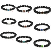Wholesale Wholesale Stretch Rings - Lots Black Lava Stone Bracelet Aromatherapy Essential Oil Diffuser Bracelet for Men Women Stretch Yoga Jewelry