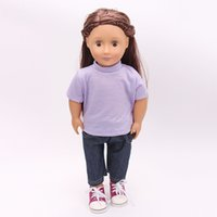 Wholesale boys jean sets - 18 Inch American Baby Girls Doll Clothes T-Shirt and Jean Pants Set for 18inch American Girl Doll Boy Outwear Sets