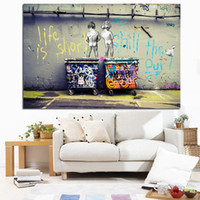 Wholesale posters nude - Pop Street Art Graffiti Life is Short Chill the Duck out Two Nude Kid Poster Print Canvas Painting Wall Picute for Cuadros Decor