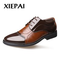хорошие бренды обуви из кожи оптовых-XIEPAI New Arrival Men Formal Oxfords Business Office Dress Shoes Good Quality Men  Leather Shoes Flats Size 38-44