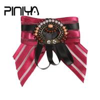Wholesale fashion jewelry parts accessories - PINIYA Handmade Ribbon Big Stripe Bowknot Shirt's Bow Tie Pins Brooch Collar Accessories Fashion Women Part Broochs Jewelry