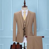 terno de negócio de uma peça venda por atacado-Outono 2018 khaki noivo vestido de terno dos homens cultivar a moralidade trajes de negócios de duas peças