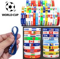 Wholesale national flag bracelets resale online - Russia World Cup sports bracelets soccer ball national team Silicone sports Bracelet national flag Souvenir Wristband GGA87
