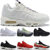 zapatos de neón al por mayor-Nike Air max 95 Diseñador Hombre Mujer 95 Zapatillas SE OG Grape Neon TT Negro Rojo 95s Triple Blanco Zapatillas Deportivas Baratas Tamaño 5.5-12