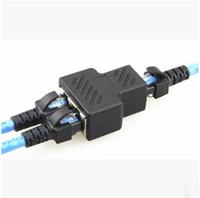 conectores hembra de cable lan al por mayor-Carga gratis de 1 a 2 vías RJ45 LAN Cable de red Ethernet Adaptador de conector divisor hembra LLFA