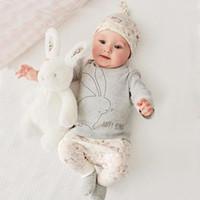 ingrosso cappelli coniglietto neonato-Vestiti della neonata Vestiti della neonata Insiemi 2018 Autumn Spring Bunny New Born T Shirt manica lunga + Pants + Hat 3pcs Set