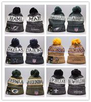 futbol sıcaklığı toptan satış-Yeni Ucuz kış Beanie Örgü Şapka Spor Takımları beyzbol futbol basketbol Beanies Kadınlar Erkekler kış sıcak şapka DHL kapakları