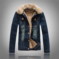 Wholesale korean men fur coat - Cool Korean Denim Jacket Men's Thick Men's Plus Velvet Cowboy Demolition Cap Clothing Winter Retro Jacket Cashmere Coat