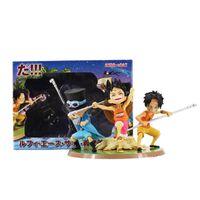 uma peça miúdo luffy figura venda por atacado-3 pçs / lote Anime Uma peça ASL Luffy Ace Sabo Três Irmãos PVC Action Figure Collectible Modelo Brinquedos Para Crianças 11 cm