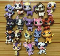 18 pcs / lot Aléatoire 3-6 cm Littlest Pet Shop Q LPS-Littlest Shop Série Pet Poupée Animaux de Bande Dessinée Chat Chien Figurines Collection Jouets