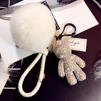 Wholesale 10 Colors POPOBE Pompoms Keychains Diamond Originality Korean Cool Keychain Accessories Knitted rope Car key buckle