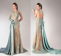 Wholesale modern import - 2018 Imported Party Dresses Bateau One Shoulder Sheer Full Sleeves Mermaid Evening Dress With Lace Appliques Evening Dresses Vestidos Robe