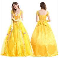 ingrosso beauty mini dresses-Costumi di Halloween Adulto Belle Bellezza e bestia Cosplay Party Halloween maniche corte Abiti Costume