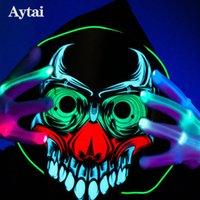ingrosso maschera audio-New Halloween 3D Maschera Horror Sound Activated Skull Clown Full Face Maschera di Halloween Party The Sound Reactive Led Mask
