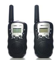 Wholesale mini radio walkie talkie - Wholesale-2pcs Walkie Talkie portable ham radio T-388 Black Mini Wireless LCD 5KM UHF VOX Multi Channels transceiver Way Radio