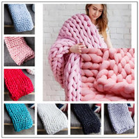 Wholesale Handmade Wool Blankets - 8 Colors 80*100cm Chunky Knit Blanket Merino Wool Handmade Blanket Sofa Air Condition Bed Weave Knitted Photography Blankets CCA8465 3pcs