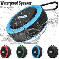 fincan hoparlör bluetooth toptan satış-Güçlü Sürücü ile Su Geçirmez Bluetooth Hoparlör Duş Hoparlör C6 Uzun Pil Ömrü ve Perakende Paketi içinde Mic ve Çıkarılabilir Vantuz