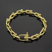 mektup mektup toptan satış-316L Paslanmaz Çelik 18 K Altın U Zincir Bilezik Gül Altın Gümüş T mektup çift kadınlar ve erkekler için moda jewwelry ünlü bilezikler marka