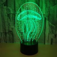ingrosso lampade di meduse-RGB Acaleph Kawaii 3D Night Light meduse animali marini acaleph Marine benthos con telecomando atmosfera lampada regalo lava