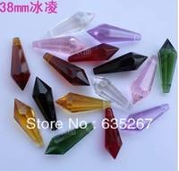 Wholesale Prism Crystal Suncatcher - Free shipping, 38mm ,MIXED COLORS CRYSTAL U-DROP ICICLE PRISM SUNCATCHER,Wedding Centerpieces Decor