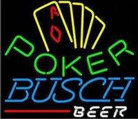 enseignes de bière néon busch achat en gros de-Tube de verre à bière Busch Poker Neon Light Sign Home Bar à Bières Pub Salle de Loisirs Jeu Lumières Windows En Verre Mur Signes 20 * 16 pouces