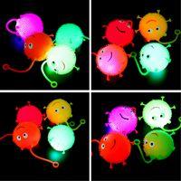 levou espremer luz venda por atacado-Desenhos animados LED Light Up Glowing Flash Hair Ball Bebê Elasticidade Divertido Brinquedos Presentes Crianças Squeeze Anti Stress Brinquedos Cor Aleatória
