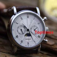 Wholesale Mens Dress Watch Brown Leather - Fashion Automatic Mechanical Watch Brown Leather Strap Mens Business Moon Phases Dress Casual Luxury Brand Watches Reloj Wristwatch