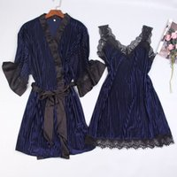 Sexy Women Nightgown Sets Pleuche 2 Pieces Suit Nightdress Bathrobe Female  Kimono Bath Gown Robes Night Sleep Wear Sleepwear 7ca5e12d5