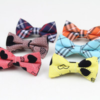 Wholesale Children Hankies - New Style Children Fashion Formal Cotton Bow Tie Kid Classical Striped Bowties Colorful Butterfly Dog Cat Pet Bowtie Tuxedo Ties