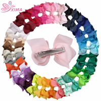 Wholesale Hair Clips Little Girl Ribbon - XIMA 32pcs lot 3''Cute Grosgrain Hair Ribbon Bows with Alligator Clip Boutique Mini Bow for Little Girls Hair Accessories