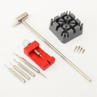 Wholesale watch holder tool - 11PCS Lot Watch Strap Holder Link Pin Remover Hammer Spring Bar Pins Repair Tool