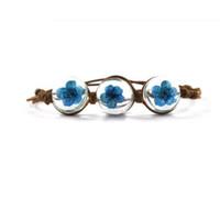 getrocknete blumen armband großhandel-Unsterbliche Trockenblumen, Kirschblüten, ewige Blumen, Time Glass Jewels Bracelet