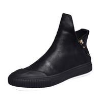 trendstiefel koreanische männer großhandel-neue britische retro Männer Reißverschluss Lederstiefel Schuhe Martin Stiefel für einen koreanischen Allgleiches Trend koreanische hohe Schuhe Männer atmungsaktiv