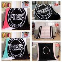 alfombras de letras al por mayor-Love Pink Letter Blanket 130 * 150 cm Soft Coral Velvet Beach Towels Mantas Aire Acondicionado Alfombras Alfombra Cómoda 10 unids